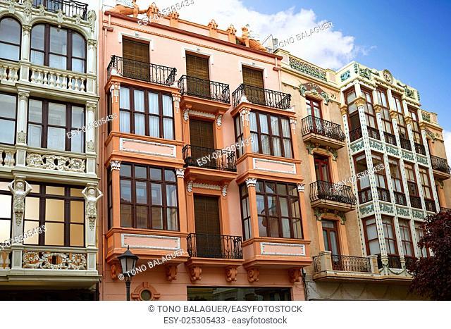 Zamora Sagasta square facades in Spain modernism