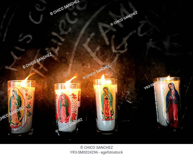Candles with the image of the Virgin of Guadalupe in Our Lady of Guadalupe basilica in Mexico City, Mexico