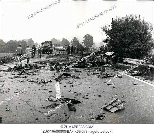 Aug. 08, 1968 - 48 die in British holiday plane crash: 44 passengers and the crew of four were killed when a Viscount airliner of British Eagle airways crashed...