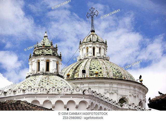 Viewto the domes of the Church of the Jesuits in the old town, Quito, Ecuador, South America