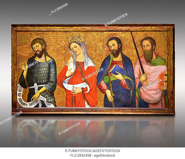 Painted Gothic panels from the Altarpiece of the Virgin of the Angels. . From Left - San John the Baptist, Santa Mary Magdele, St. James the Less, St