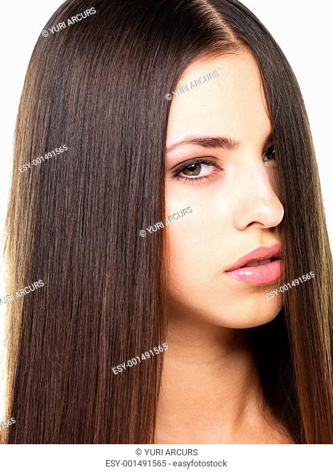 Closeup portrait of young beautiful woman on white background