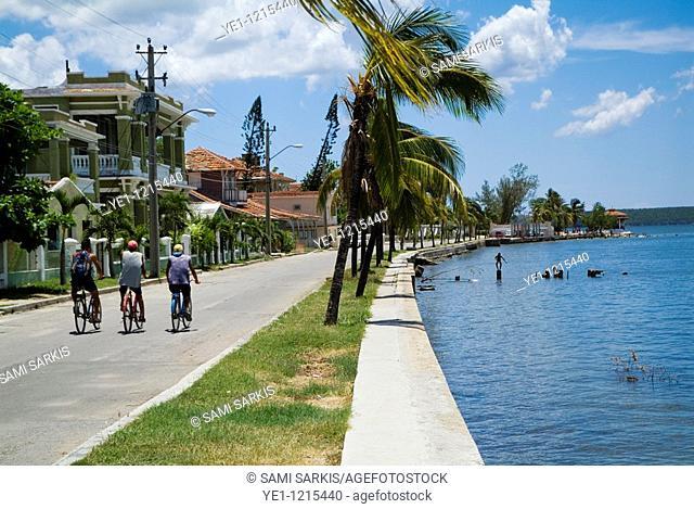 Men cycling along the street together by Cienfuegos Bay, Punta Gorda, Cuba