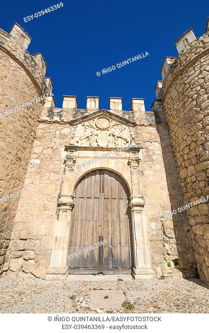 ancient door of old city exterior wall of Penaranda de Duero village, landmark and public monument from fifteenth century, in Burgos, Castile and Leon, Spain