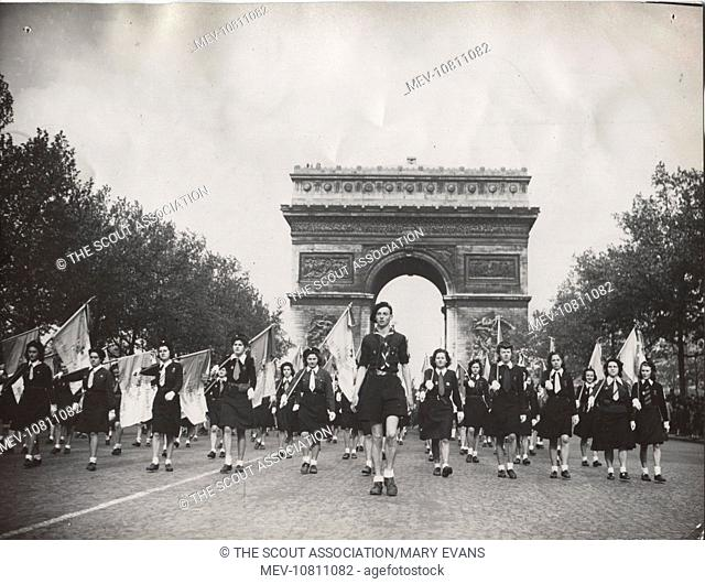 French Girl Guides on parade, St George's Day, Paris, in the presence of their Chief, Lady Baden Powell, as well as national chief General Lafont