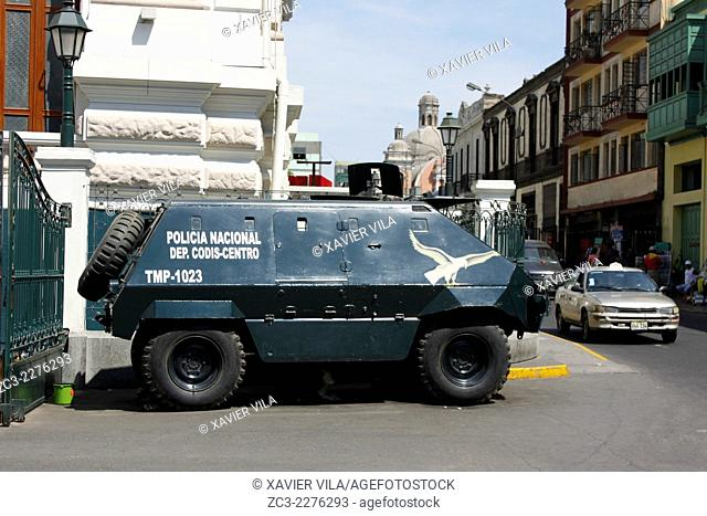 Armored Peruvian police car in front of the Congress of the Republic of Peru, Congreso de la Republica del Peru, Lima, capital of Peru