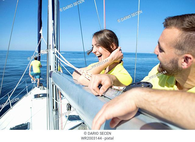 Young couple together on sailboat, Adriatic Sea