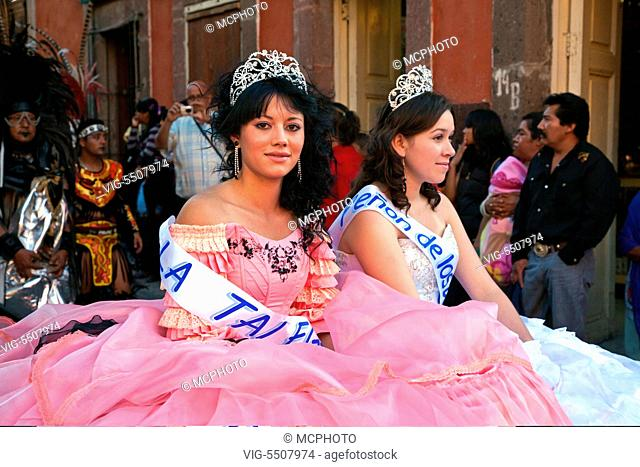 BEAUTY QUEENS are paraded through the streets in celebration of San Miguel Arcangel, the patron saint of SAN MIGUEL DE ALLENDE each October - , 02/10/2010