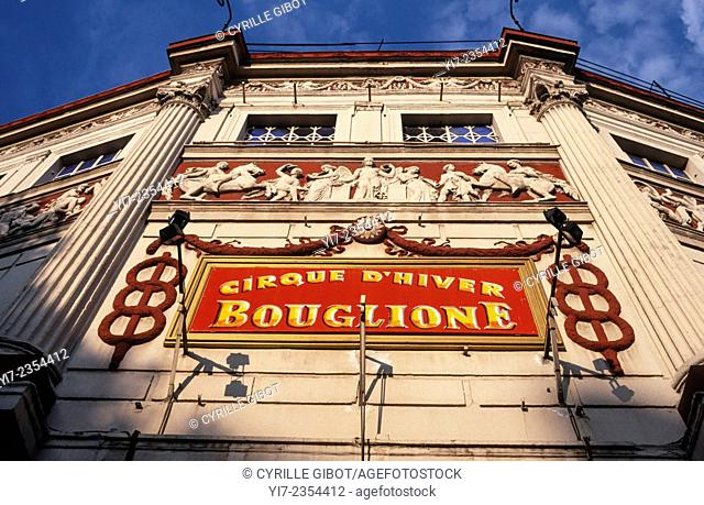 Exterior view of the Cirque d'Hiver Winter Circus, Paris, France. In 1956 Carol Reed directed the film Trapeze. It was in part filmed at the Cirque d'Hiver