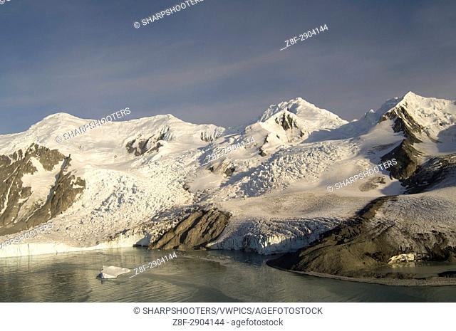 Antarctica, South Shetland Islands, Livingston Island, False Bay, Helicopter flight on Huntress Glacier