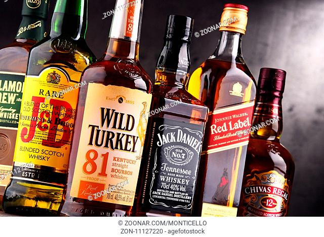 POZNAN, POLAND - AUG 18, 2017: Whiskey is the most popular liquor in the world. Originated probably in Ireland, now it is produced on grand scale also in India