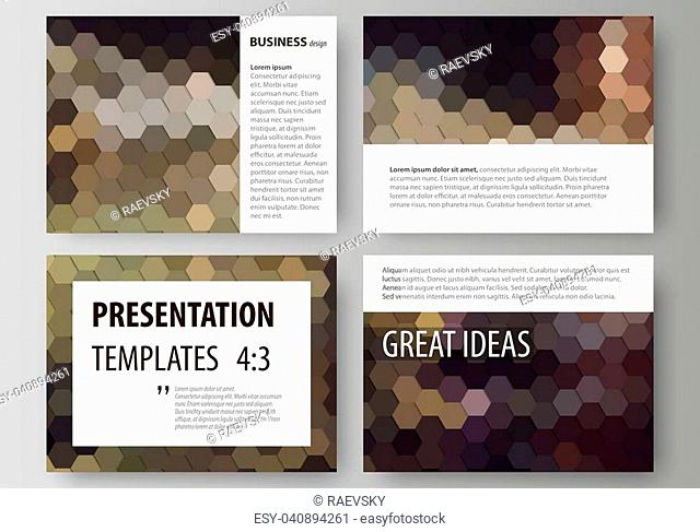 Set of business templates for presentation slides. Easy editable abstract vector layouts in flat design. Abstract multicolored backgrounds