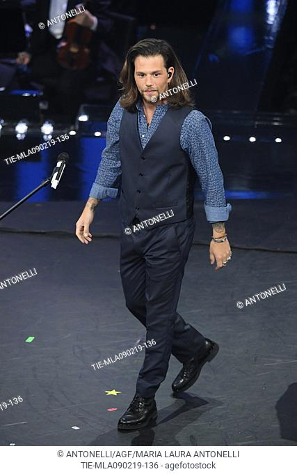 Singers Enrico Nigiotti during 69th Festival of the Italian Song, Sanremo fourth evening. Sanremo, Italy 08 Febr 2019