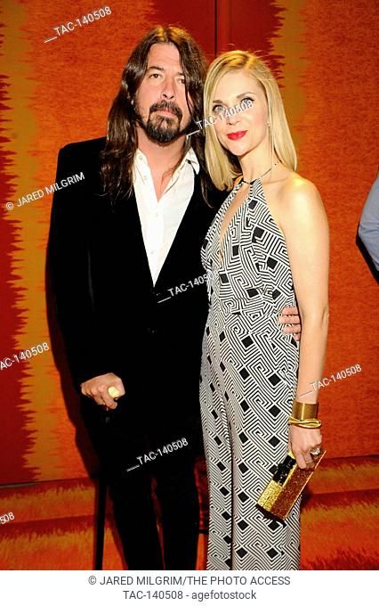 Dave Grohl and wife Jordyn Blum attends HBO's 2015 Emmy After Party at the Pacific Design Center on September 20th, 2015 in Los Angeles, California