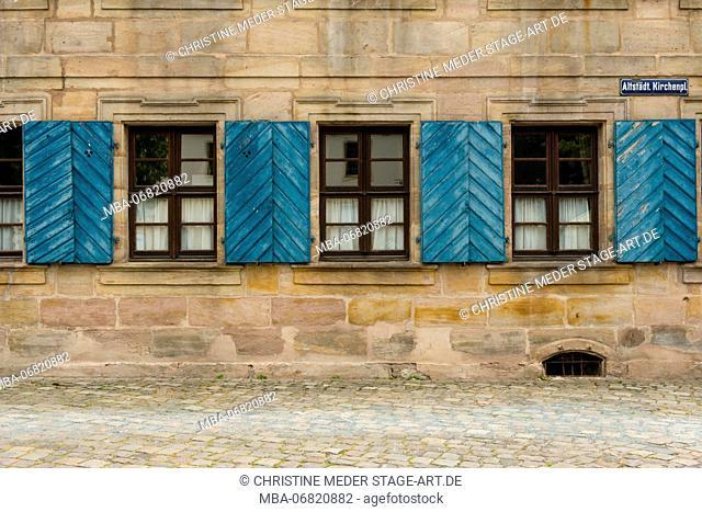 Facade at Erlangen, Franconia; house, window, shutters