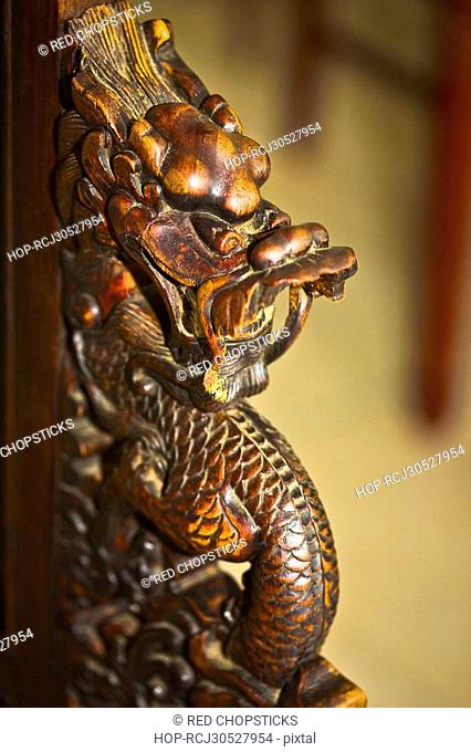 Close-up of a Chinese dragon statue, HohHot, Inner Mongolia, China