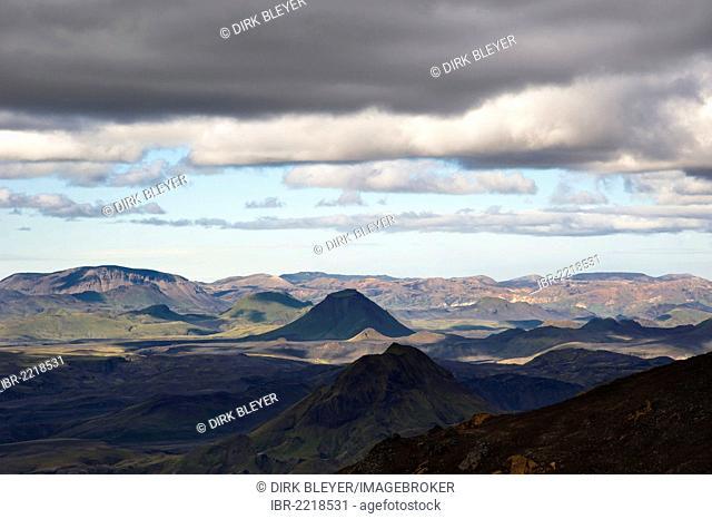 View of Þórsmoerk, Thorsmoerk Valley and Landmannalaugar, hiking trail to the Fimmvoerðuháls, Fimmvoerduhals plateau, Suðurland, Sudurland, Southern Iceland