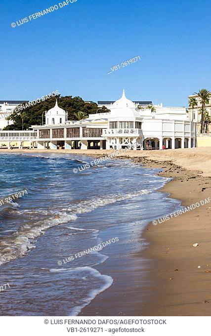 Former balneario (spa resort) at La Caleta beach, Cadiz, Andalusia, Spain