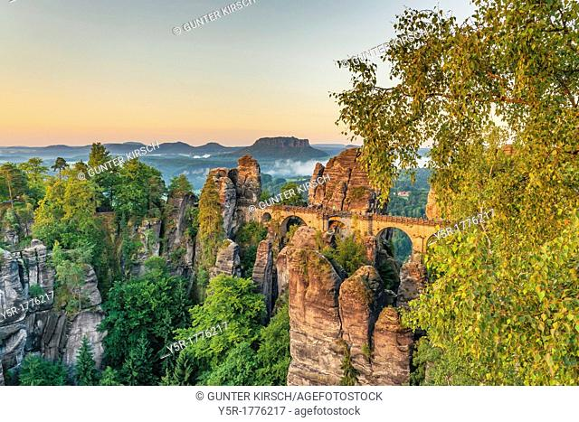 View from Ferdinand stone to the spectacular rock formation Bastei Bastion and Bastei Bridge It is one of the most visited tourist attractions in the Saxon...