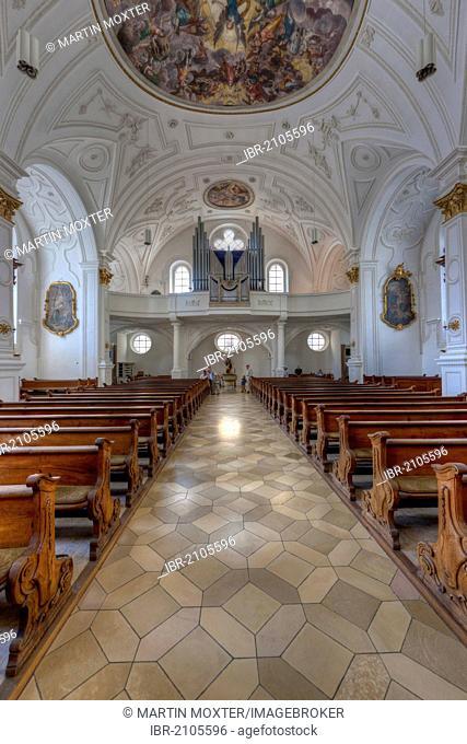 Interior view, parish church Mariae Himmelfahrt, church of the Assumption, Weilheim, Upper Bavaria, Bavaria, Germany, Europe