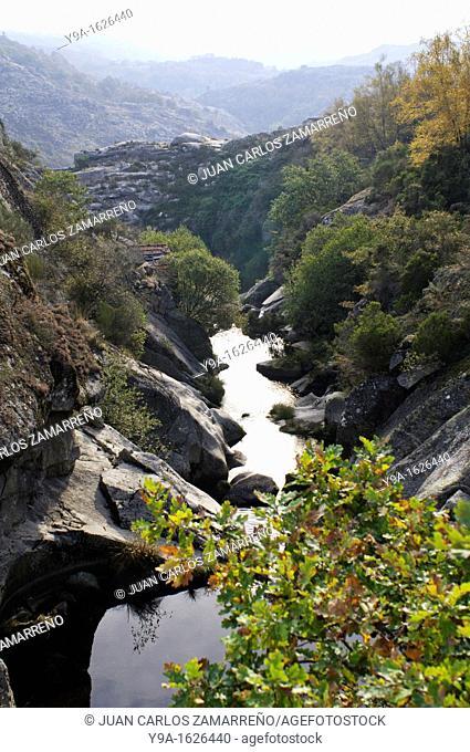 River during autumn from the old bridge at Castro Laboreiro, Peneda Geres National Park, Melgaco, Braga, Minho, Portugal