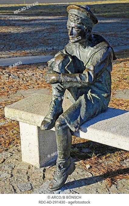 Jules Verne as child, memorial, Nantes, Departement Loire-Atlantique, Pays de la Loire, France