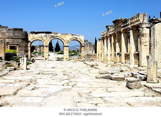 Mainstreet with Northern Gate, Hierapolis, near Pamukkale, Turkey
