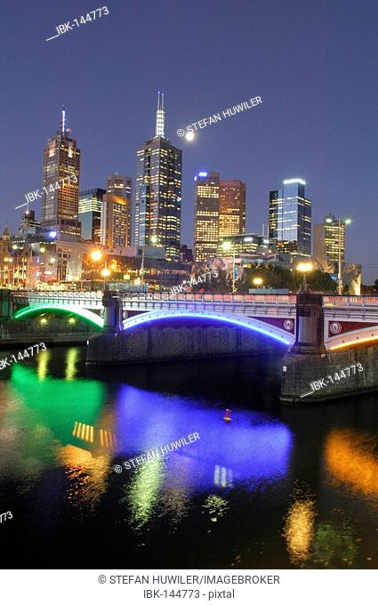 Skyline of Melbourne with the Yara River, Victoria, Australia