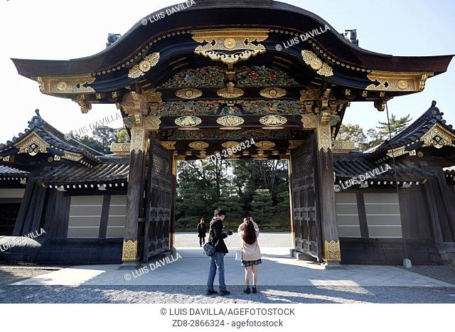 The karamon main gate to Ninomaru Palace is gilded with gold at Nijo Castle in Kyoto, Japan