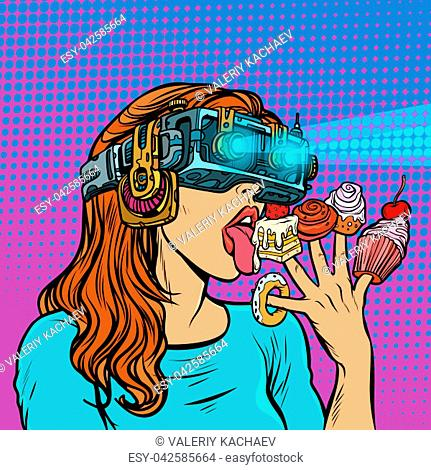 woman in virtual reality glasses eating sweets. cake cupcake donut marshmallow. Pop art retro vector illustration vintage kitsch