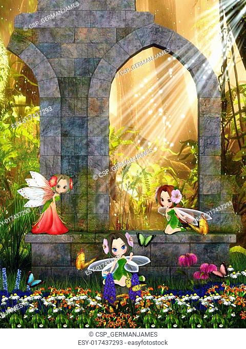The little fairies playing in the ruins