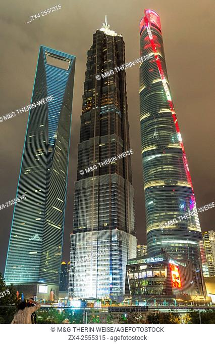 Pudong financial district at night, Shanghai, China