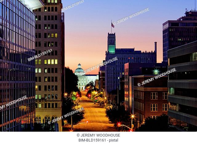 High angle view of Jackson cityscape at night, Mississippi, United States