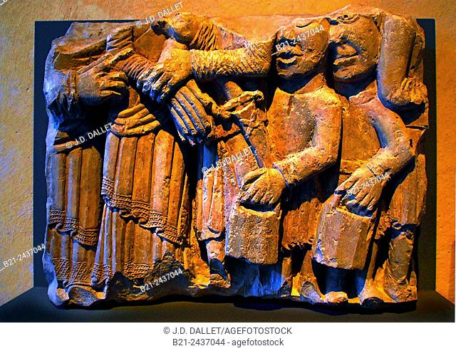 12th century Taking of Christ, limestone from the Saint-Antoine Church of Rodez, Musée Fenaille, Rodez, Aveyron, Midi-Pyrenees, France