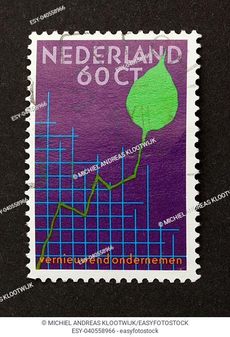 HOLLAND - CIRCA 1980: Stamp printed in the Netherlands shows a graph and a leaf, circa 1980