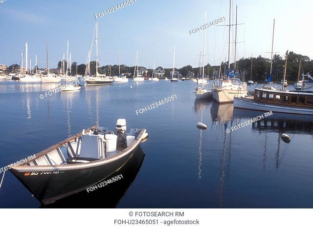 Cape Cod, Massachusetts, Boats buoyed at marina at Woods Hole, Massachusetts