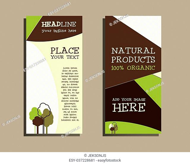 Vector organic Brochure Flyer design Layout template. Lovely Eco colors. Triangle abstract style. Green ecology design. Isolated on grey background