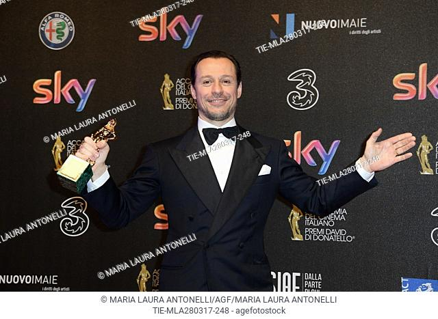 Stefano Accorsi prize Best leading actor during the red carpet of David di Donatello Awards, Rome, ITALY-27-03-2017