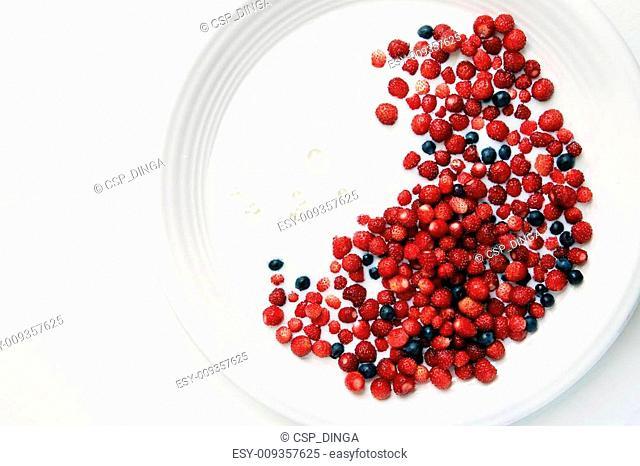 Closeup - plenty of wild strawberries ir blueberries floating in milk in big white china bowl