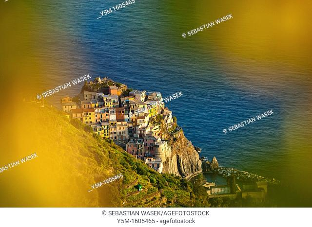 Manarola from Volastra, Cinque Terre National Prk, Province of La Spezia, Liguria, Italy, Europe