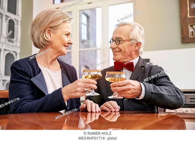 Smiling senior couple clinking champagne glasses