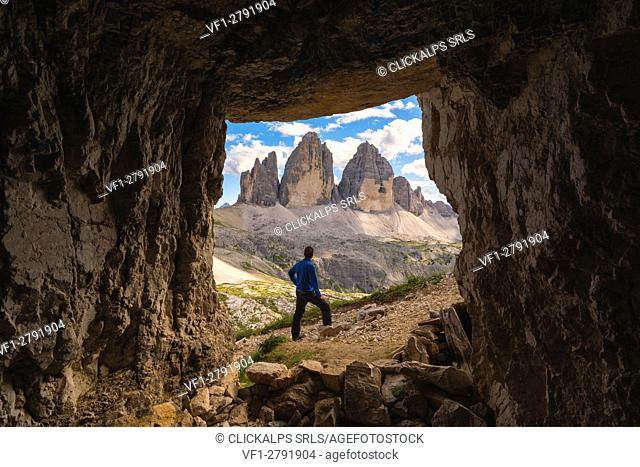 Three peaks of Lavaredo views from a cave, Bolzano Province, Trentino Alto Adige, Italy