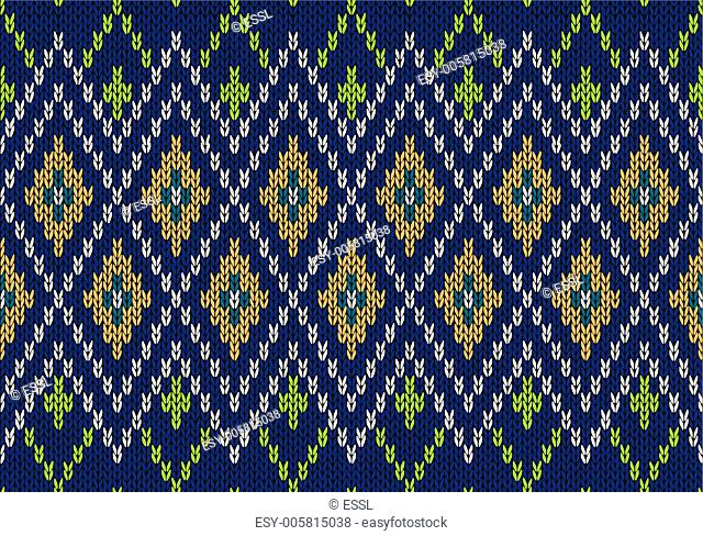 Seamless Ornamental Childish Style Knitted Vector Pattern