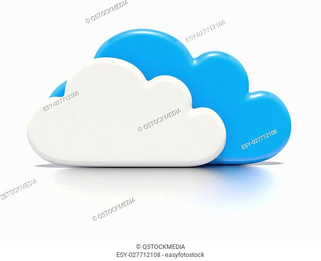 A concept graphic depicting a cloud computing concept. Rendered against a white background with a soft shadow and reflection