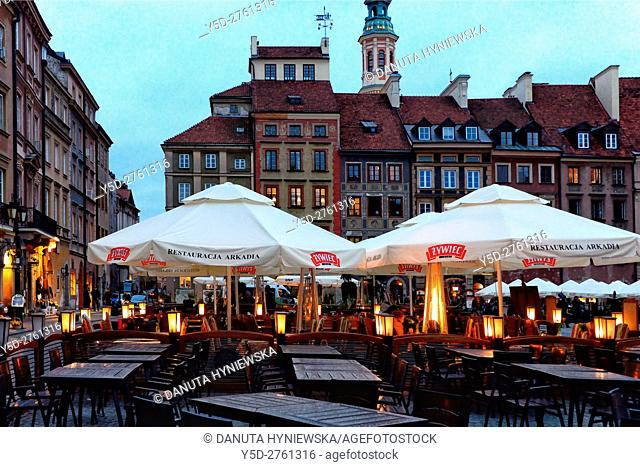 Old Town Market Place in front Arkadia restaurant outdoor tables, on left Barssa side, in front Zakrzewskiego side , in background tower of Jesuit Church of the...