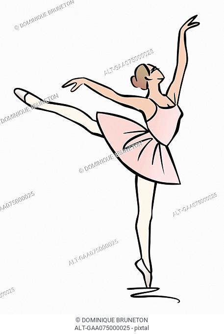 Illustration of ballerina performing an arabesque