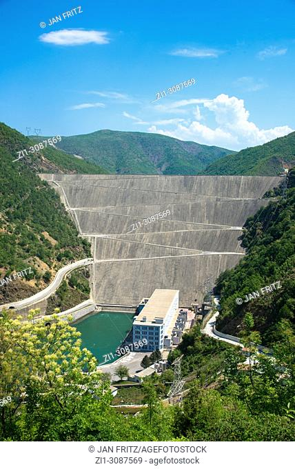 view at dam in Drin river near Fierze, Albania