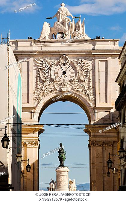 Rua Augusta Arch, Commerce Square, Praça do Comércio, Terreiro do Paço, Lisbon, Portugal, Europe