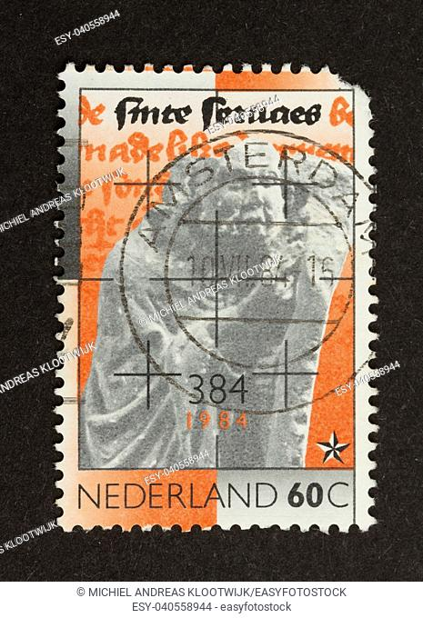 HOLLAND - CIRCA 1970: Stamp printed in the Netherlands shows a statue, circa 1970