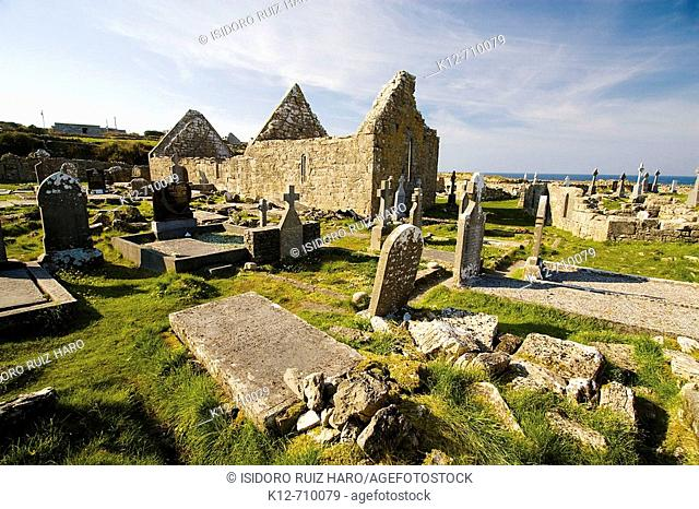 Na Seacht dTeampaill (Seven Curches) graveyard celtic remains. Inishmore, biggest of Aran Islands. Galway Co. Ireland